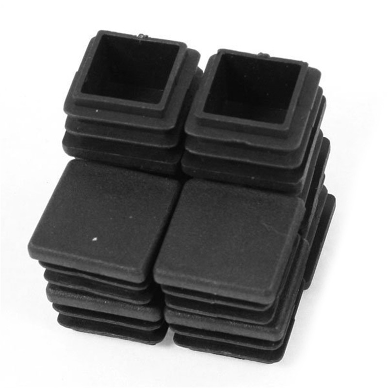 12 Pieces Plastic Black Square Plugs for The Table Leg