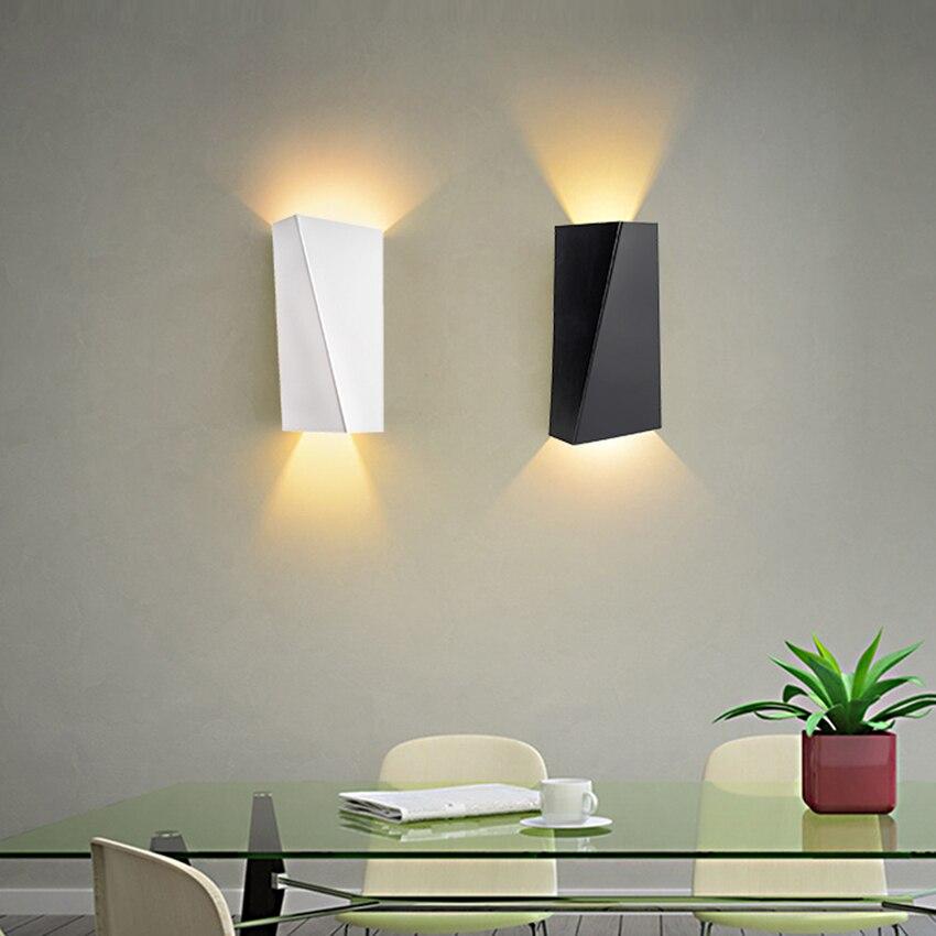 Черный/белый 10 Вт светодиодный настенный светильник для дома Dual-Head Геометрия ночники Ванная комната Освещение в помещении теплый белый хол...