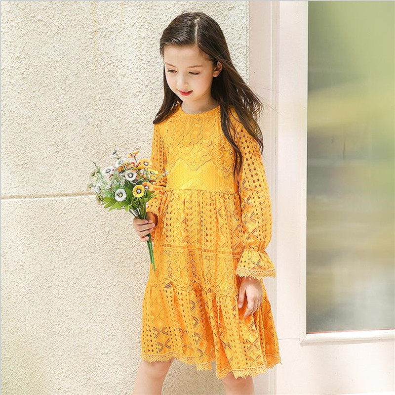 bright yellow flower girl lace dress princess autumn pageant wedding bridal dress children. Black Bedroom Furniture Sets. Home Design Ideas