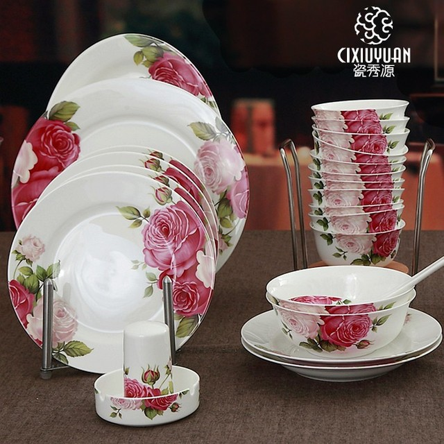 48 piece, Lente bloemen blossom ontworpen, Bone china eetkamer sets ...