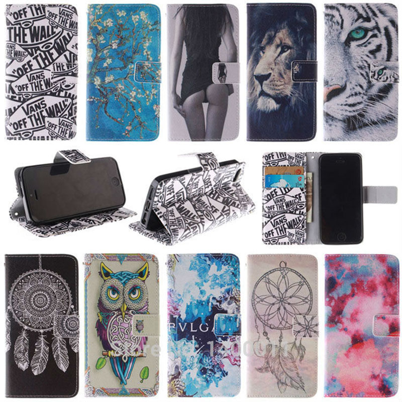 10 Styles Flip Leather cover Case for apple iphone SE 5 S Wallet Stand With Card Holder Magnetic Chip Cases For iPhone5 5s Caque