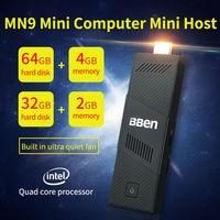 Bben windows 10 mini computador pc, intel cpu core, construído no ventilador, ddr3 4 gb ram, 64 gb emmc, ou 2g/32g, z8350 android tv vara dongle