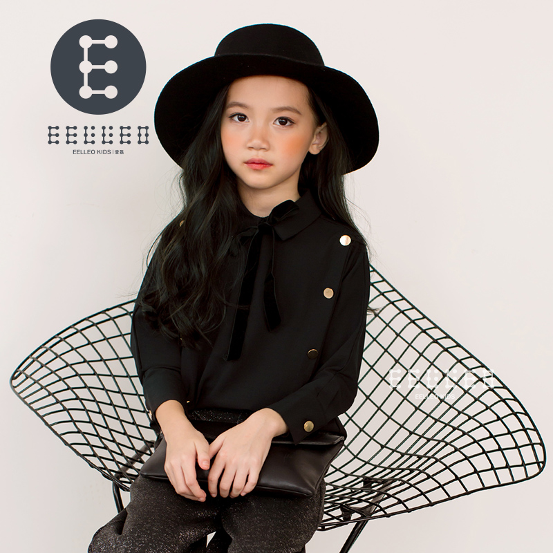 Fashion Spring Autumn New Baby Large Girls Clothing Bow Black Children Blouse Princess Blouse Cute Tops Girls Shirt Kids Clothes cute kids baby girls embroidered my little black letter bow bodysuit jumpsuits