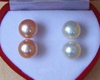 2015 New Fashion Free Shipping 2Pairs 7 8MM Natural White Pink Pearl Earrings AAA Grade Jewelry