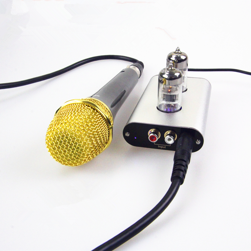 Mini Vacuum Tube Microphone Preamplifier MIC HiFi Pre-Amp KTV Music Recording 2017 new nobsound hifi mini microphone preamplifier music sound card recording mic amplifier