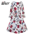 iiiher Autumn Winter Dress Red Long Sleeve Ladies Floral Print Women Dress Vestidos 50s Vintage Retro Tunic Casual Dresses