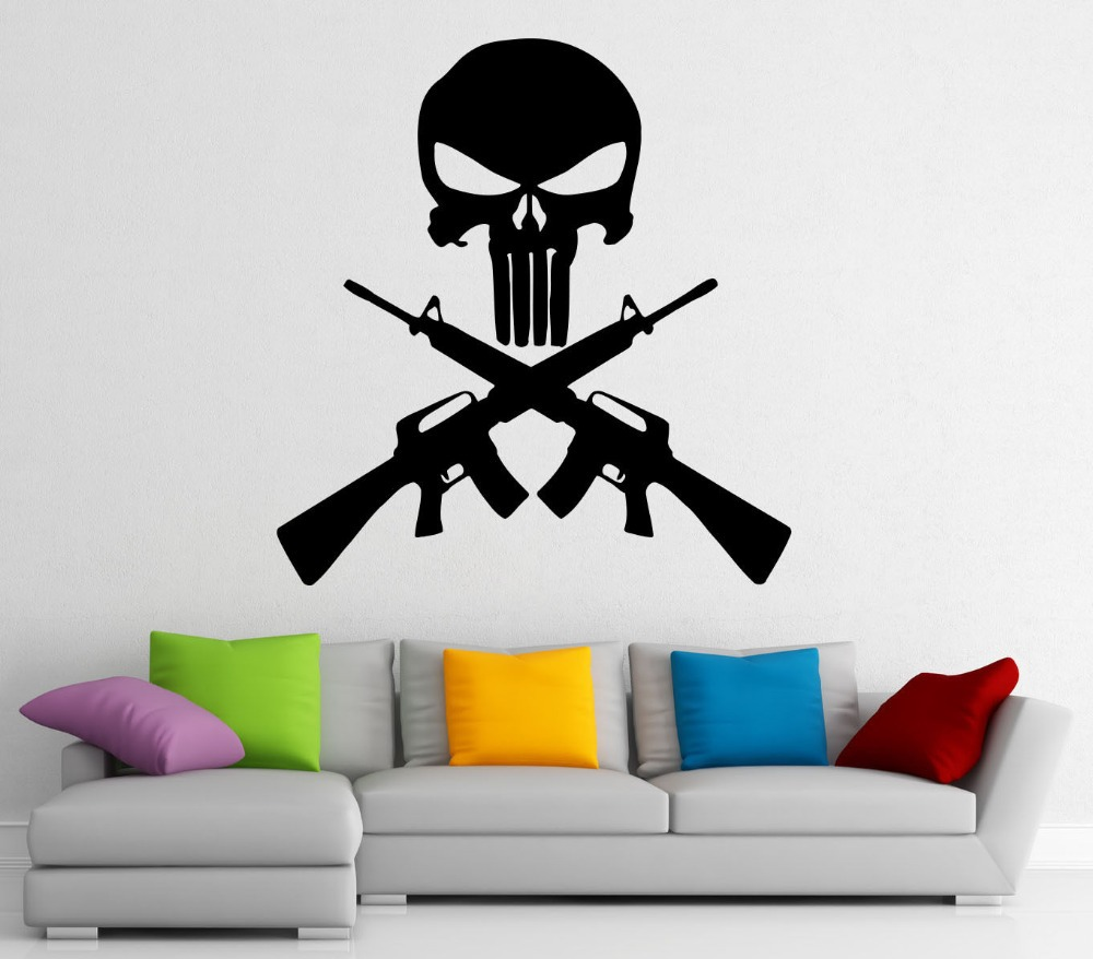 compare prices on marvel wall decals online shopping buy low punisher vinyl wall decal hero marvel comics character skull gun mural art wall sticker boys room