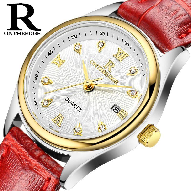 ONTHEEDGE Damenuhren Luxus Uhr Reloj Mujer Lederband Diamant - Damenuhren
