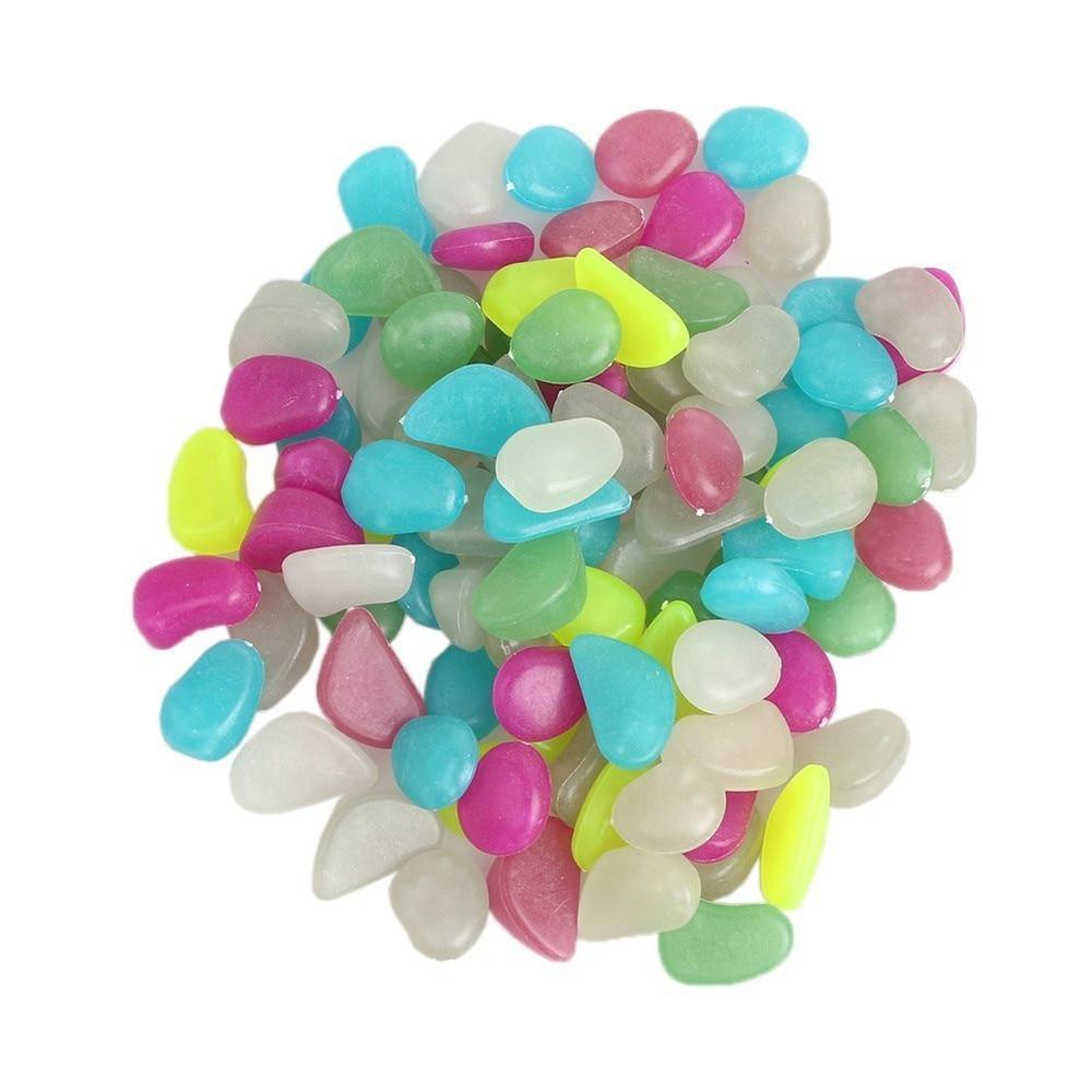 100Pcs(Mixed Color) Luminous Cobblestones Glow Pebbles Stones Glow In The  Dark For Stones Aquarium Fish Tank Garden Decorations