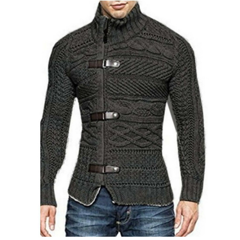 SMONSDLE 2018 Autumn Winter Brand Sweater Cardigan Men Casual Slim Sweaters Male Warm Thick Hedging Turtleneck Sweater Men S-3XL