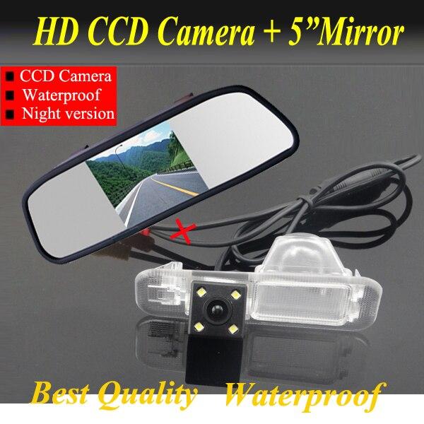 2in1 CCD HD Reversing camera For Kia K2 RIO Sedan Car rear view back parking camera + 5inch car monitor mirror TFT LCD HD800*480