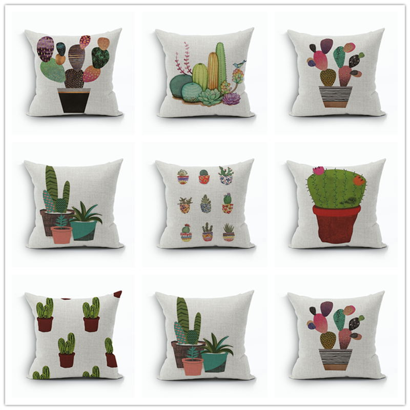 Chinese Style Decorative Pillows Ink Wash Painting Fl Pattern Cushion Covers Cotton Linen Square Printed Throw Pillow