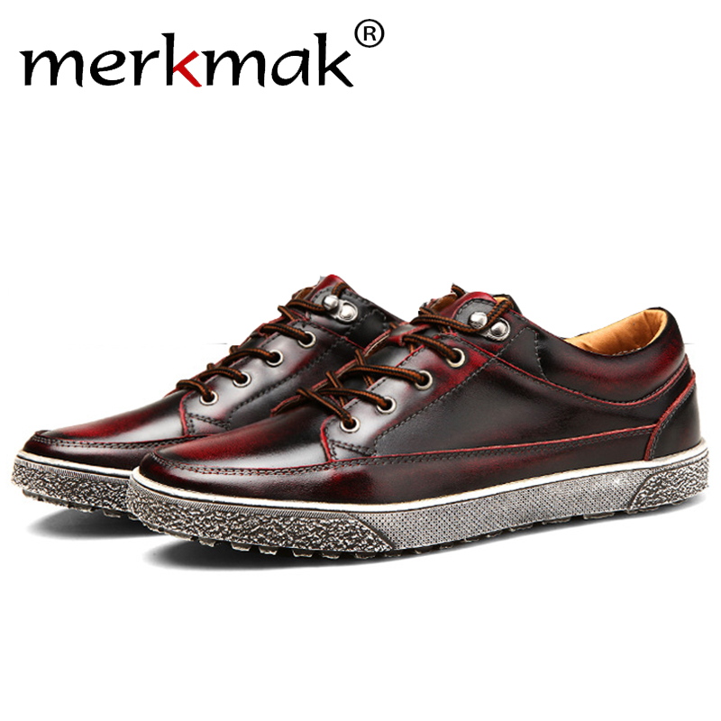 Merkmak Luxury Brogue Men Flats Shoes Fashion Geniune Leather Lace Up Ankle Design Breathable Comfortable Footwear Drop Ship cbjsho brand men shoes 2017 new genuine leather moccasins comfortable men loafers luxury men s flats men casual shoes