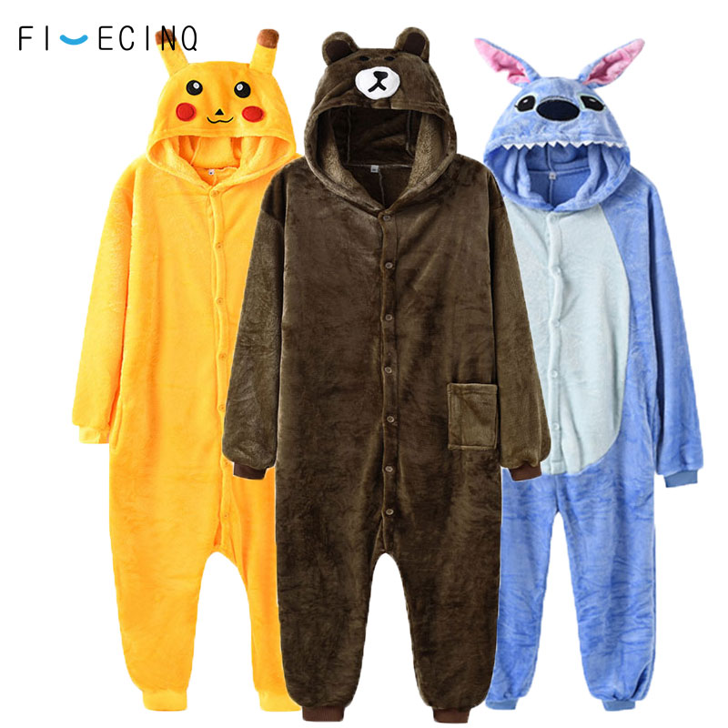 93463251ed4 Animal Onesie Kigurumi Adult Fancy Women Men Overalls Pokemon Bear Unicorn  Stitch Anime Cosplay Costume Soft