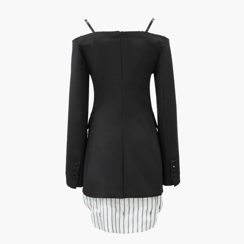 Poitrine Noir Black V Slash Costume eam Ld0224 Femme Spliced 2019 Tempérament Stripe Manteau Slim Printemps cou Cou Soild Unique qnqzAw1X