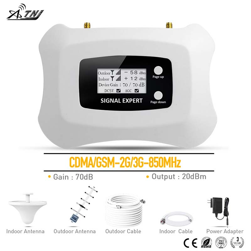 ef08e54372bdc5 2G 3G Signal Repeater CDMA 850MHz Mobile Signal Booster 3G Cell phone  Amplifier 2G repeater Yagi+Ceiling antenna kit