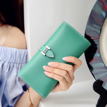 Chara's Bags Long section Women pu Leather Money Clips High capacity womens Solid color Wallets Phone Bag Coin Pocket