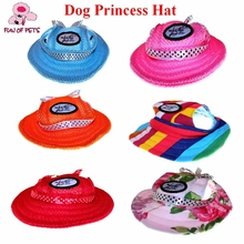 2017 Dog Accessories Outdoor Summer Pet Hat Sun Princess Dog Caps for Small Dogs With Ear Holes Mesh Round Pets Accessories