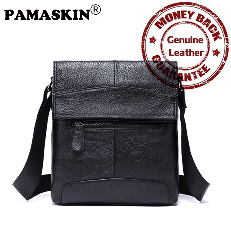 PAMASKIN Genuine Leather Bags High Quality Shoulder Bags Men's Cross-body Bag Business Small Messenger Bag For Men 2017 Hot Sale high quality 2015 new hot sale genuine cowhide leather men bag fashion men messenger bag small business crossbody shoulder bags