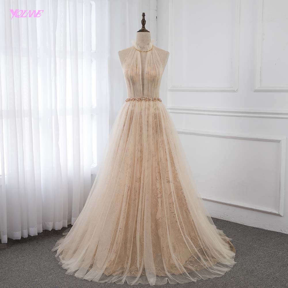 YQLNNE Elegant Champagne Embroidery Evening Dresses Long High Neck Tulle Formal Evening Gown Robe De Soiree