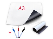 A3 Magnetic Whiteboard Fridge with 3 Marker Vinyl White Board Dry Erase Memo Pad Message Boards Magnets Sticker Flexible Soft
