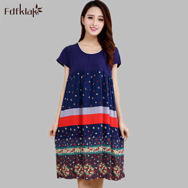 Women sleepwear casual cotton soft night dress loose long shirt women s  night elegant print nightgowns female b8007010d