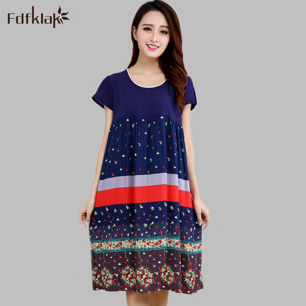 Women sleepwear casual cotton soft night dress loose long shirt women's night elegant print   nightgowns   female   sleepshirts   A193
