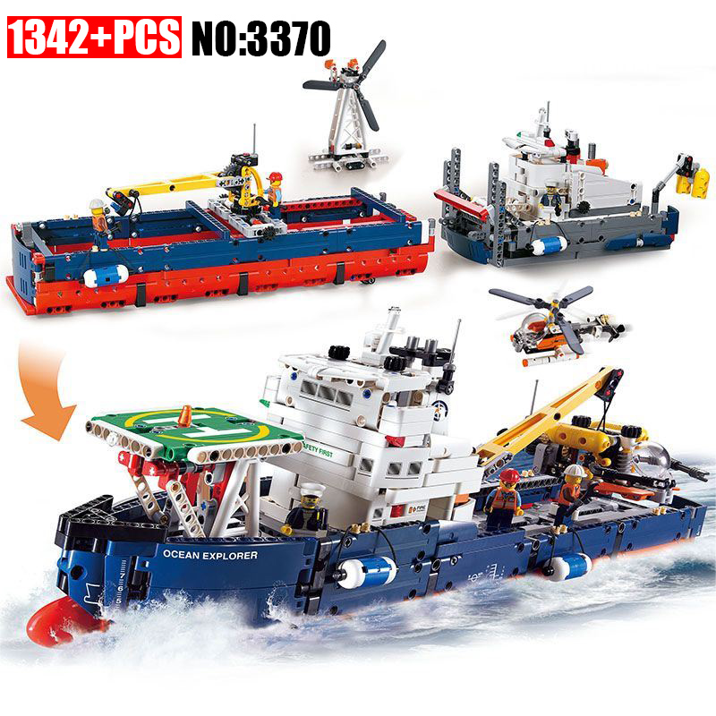 1342Pcs 3370 Technic Series Ocean Explorer Model Building Kits Blocks DIY Bricks Toy For Children Gift Compatible With 42064-in Blocks from Toys & Hobbies    1