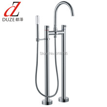 Free Shipping NEW Chrome Finish Floor Mounted Tub Filler with Hand Shower Floor Standing Tub Faucet Solid Brass 56210-1080