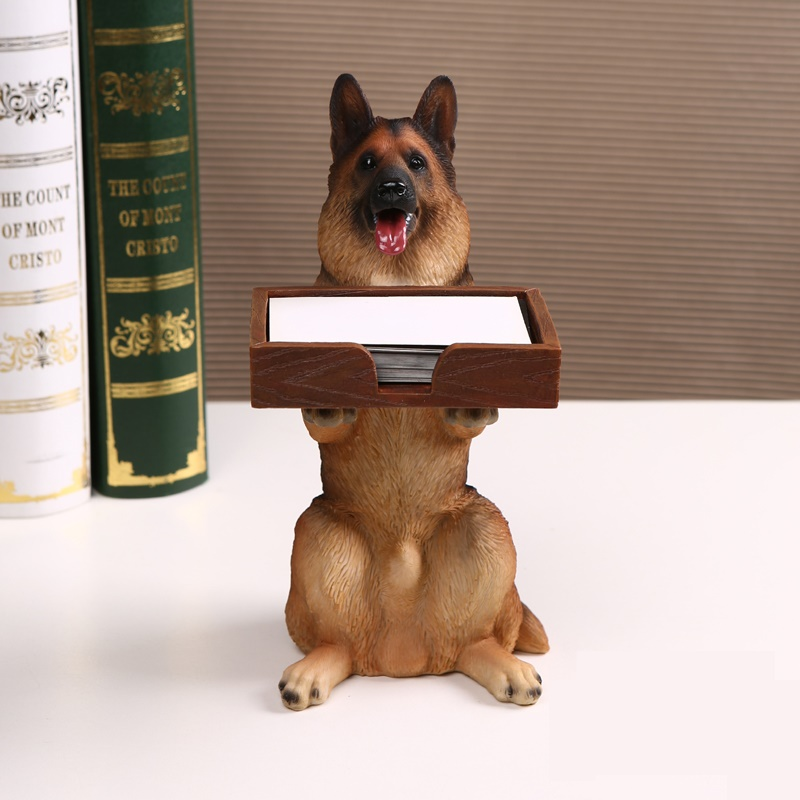 Desktop wolfhound figurine business card case decorative resin desktop wolfhound figurine business card case decorative resin german shepherd dog statue stationey organizer craft accessories in home office storage from colourmoves