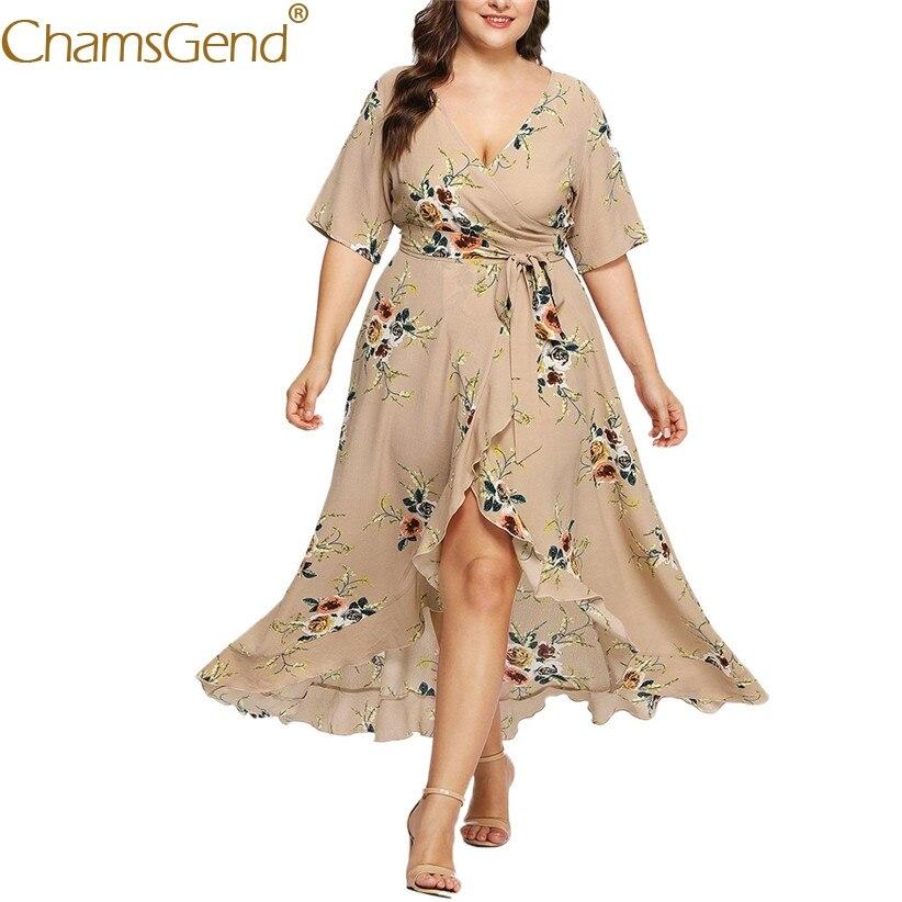 Lady Sexy v шеи Цветочный принт длинное Вечеринка платье для женщин; Большие размеры с рукавами средней длины, с разрезами бежевые платья XL, XXL, XXXL...