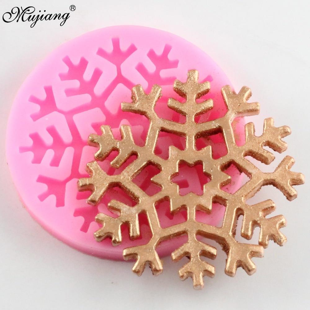 Diy forma do floco de neve bolo de silicone molde do laço de natal fondant ferramentas de decoração do bolo cupcake doces argila molde de chocolate