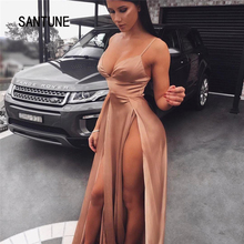 Santune Sexy Deep V Backless Spaghetti Strap Maxi Dress 2017 Summer Fashion Solid Color Patchwork Women Floor Length Dresses