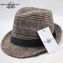 BINGYUANHAOXUAN Hat Mens Imitation Wool Felt Jazz Flat Top Cap Church Homme Cappello Fedora Bowler Spring Winter