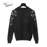 Autumn & Winter Fashion Thick Warm Pullover Sweater Computer Knitted Sequined Beading Women sueter mujer Celebrity C 013