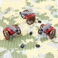 3 Pcs Arma Canhão Com Rodas Conchas Para Figura Força Terrestre MOC Iluminai Building Block Tijolo Legoingse Monte Partículas Brinquedos