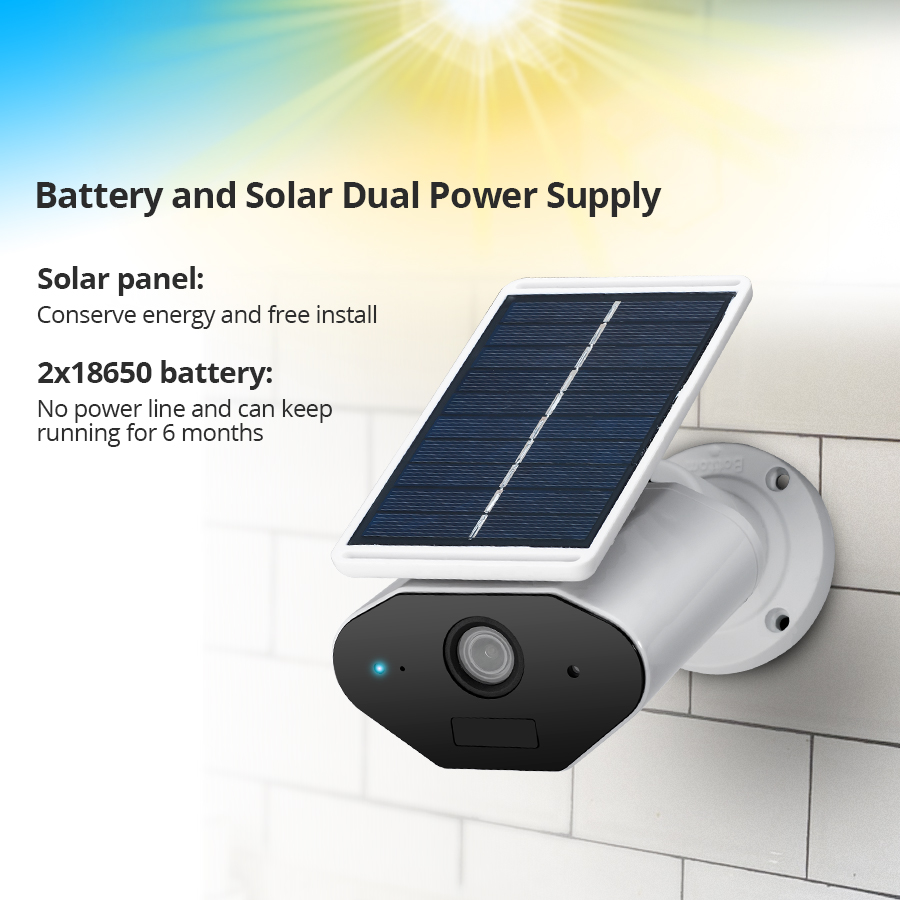 FUERS Solar Power Wireless Rechargeable Battery Outdoor Indoor Security Waterproof Camera WiFi IP 960P HD Mobile