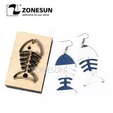 ZONESUN フィッシュボーン革イヤリング切断ダイ紙革装飾ツール用切断機 DIY クリッカースチールルールは