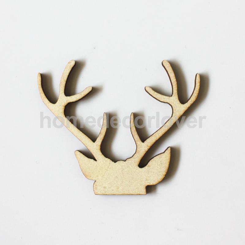 10pcs Wooden Antler Shape Craft Wedding Christmas Party Decoration DIY