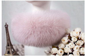 SCM043 шарф из лисьего меха шарфы-повязки на шею теплая накидка шаль-пончо снуд много цветов 57*12 см - Цвет: peach