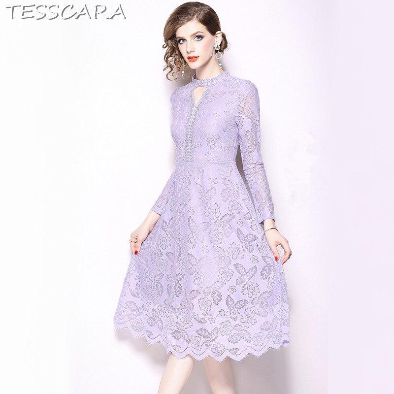 a15972efa2db Vestito Signora Merletto Modo Ufficio Della Eleganti Purple Progettista  Delle Alta Qualità Lunga Femme Abiti Del Partito Molla Femminile ...
