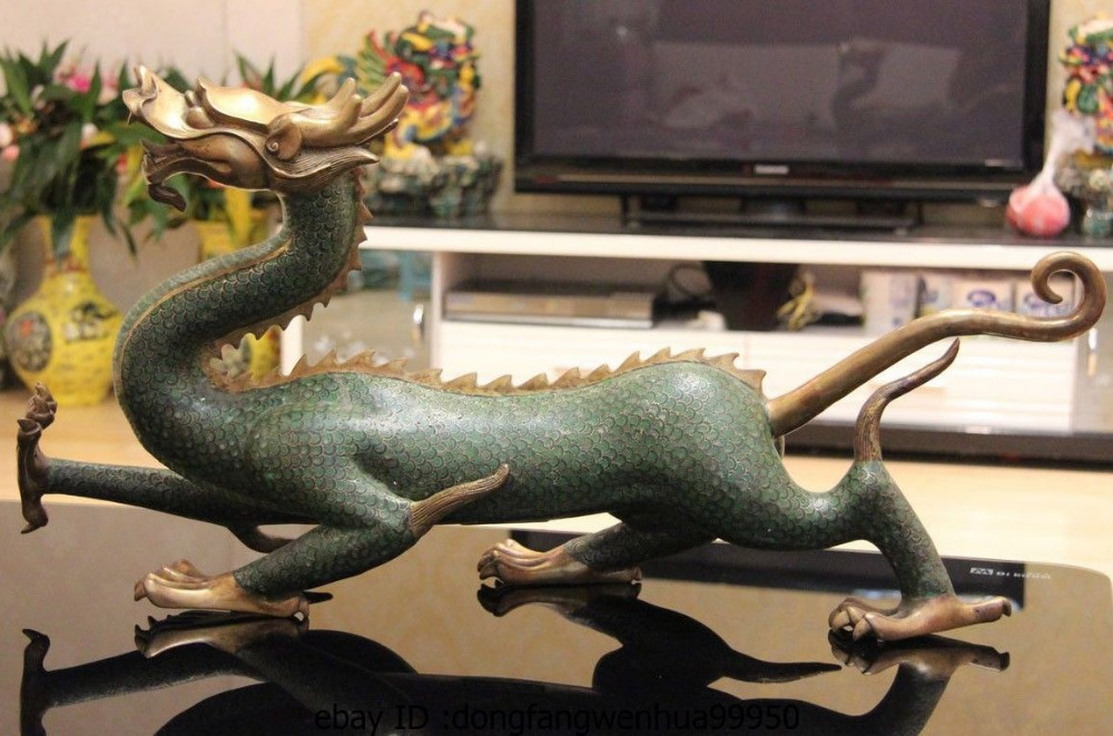 Old Chinese Fengshui Bronze Exorcism Green Dragon Lifelike Statue