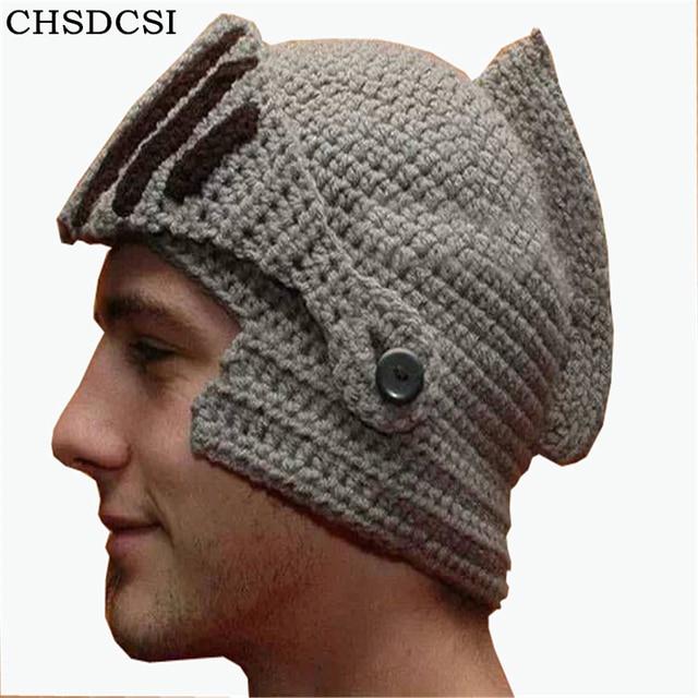 2018 New Handmade Knitting Women Men Balaclava Octopus Roman Knight Beard  Hat Crochet Beanies Hat Winter Hallowmas Days Mask Cap 7093ea0a00b