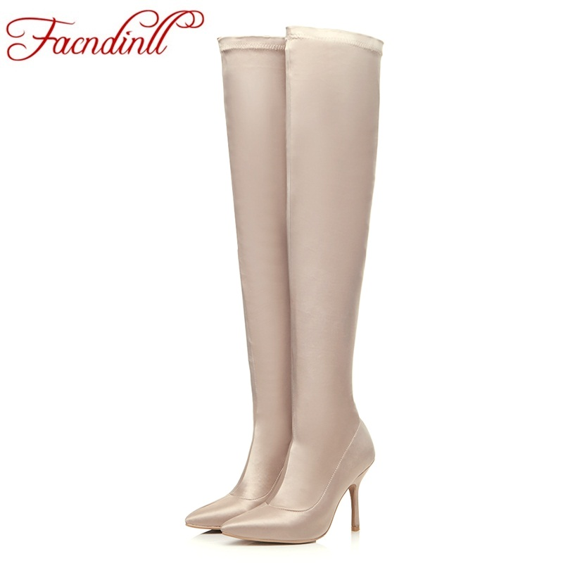FACNDINLL newest spring/autumn sexy thigh high boot satin stretch elastic over the knee boots for women high heels shoe booties