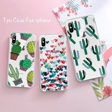 Cute Pineapple Cactus Pattern TPU Case For iPhone X 8 6 6S 7 Plus 5 5S SE 4 4S Printed Soft Cover Shell for iPhone XS Max XR XS(China)