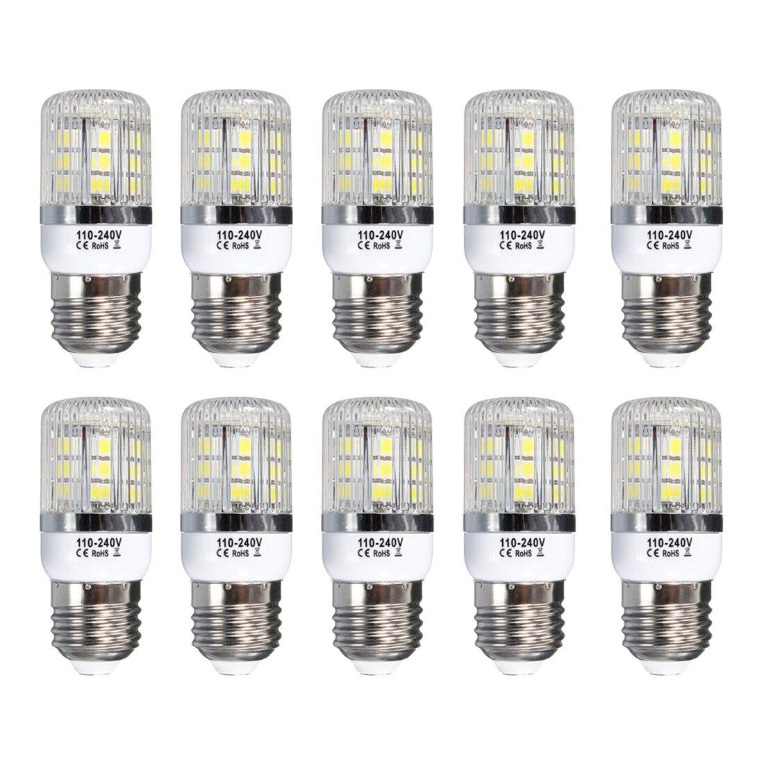 E27 5W Dimmable 27 SMD 5050 LED Corn Light Bulb Lamp Base Type:E27-5W Pure White(6000-6500K) Amount:10 Pcs new corn bulb e27 9 11 12 14w 220v pure warm white smd 5050 44 52 60 64 led spot light bulb lamp flat tube