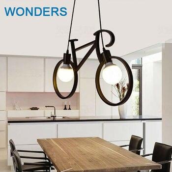 Nordic Creative Bicycle Iron Pendant Lights black/ white bike droplight Restaurant Children Room Bedroom lighting fixture E27