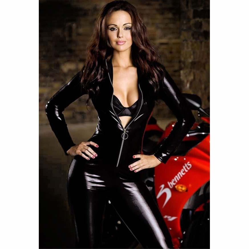 Zipper Open PVC Faux Leather Bodysuit Shiny Catsuit Erotic Wet Look Sexy Club Jumpsuit Moto&Biker Dance Wear Erotic lingerier 31