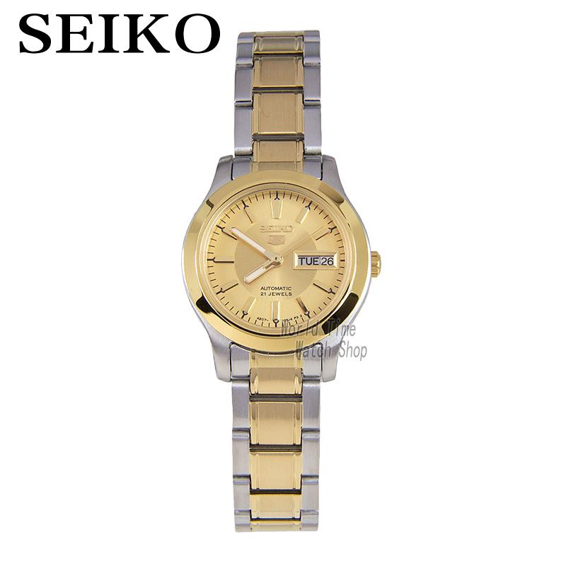 все цены на SEIKO Shield No. 5 Dual-color stainless steel automatic machinery female watch double calendar gold dial watch SYMD92K1 онлайн