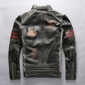 Image 2 - Genuine Leather Motorcycle Racing Jacket AVIREXFLY Motorbike MOTO Jacket cowhide leather Road ride jacket